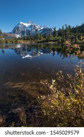 Calm waters of Mirror Lake near Mount Baker, Washington State, reflect nearby fall foliage and the glaciated peaks of Mount Shuksan
