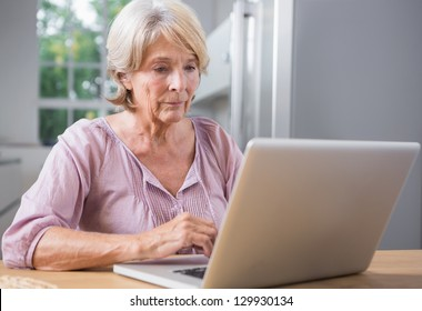Calm woman using her laptop at home