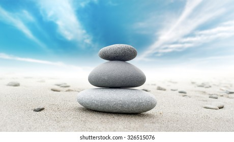Calm zen meditate background with rock pyramid