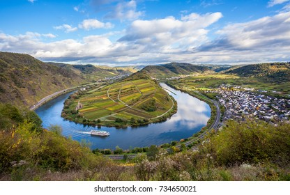 Calmont Moselle loop Landscape in golden autumn colors Travel Germany
