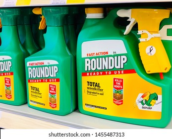 Calne, Wiltshire, Uk, July 19, 2019. Roundup weed killer on sale and readily available on a supermarket shelf in the UK.