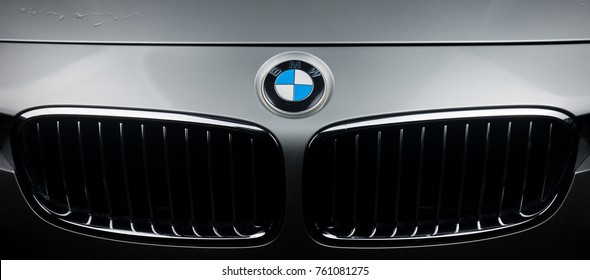 CALODYNE, MAURITIUS - APRIL 30, 2016 : Front picture of BMW car, closeup on logo and grill of silver BMW 3 series.