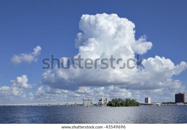 Caloosahatchee river cumulus clouds , high resolution