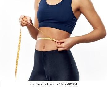 Kaloriendiät Zentimeter Klebeband Schöne Frau
