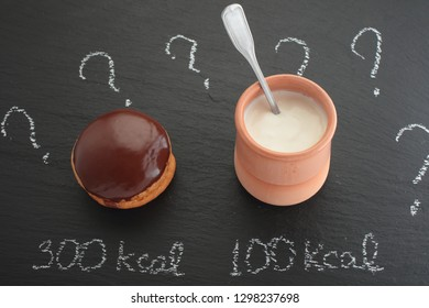 Calories counting concept, the chocolate cake and the jar of yogurt with calorie labels
