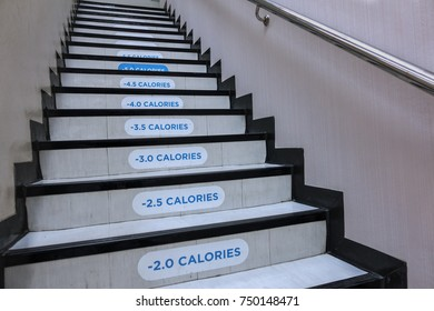calories counting step, healthy stairway for body building and diet concept
