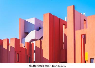 Calp, Spain, 01 January, 2020: La Muralla Roja building, Red Wall building in Calp, Spain