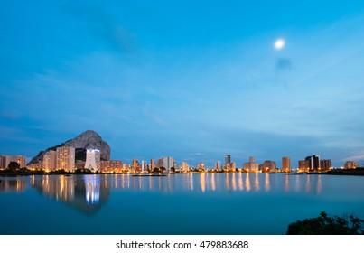 Calpe night Spanish city