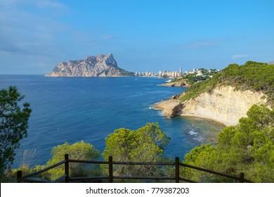 Calpe Rock, Ifach, seen from the Costa Blanca coast between Calpe and Moraira, Spain.