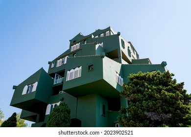 Calpe, Spain - 19 July 2021: Low angle view of the modern architecture apartment complex 'Edificio Xanadu' by Ricardo Bofill at the Costa Blanca