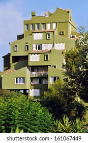 """CALPE, SPAIN - JULY 29: View of famous creation of architecture Ricardo Bofill, """"Edificio Xanadu"""" on July 11, 2011 in Mediterranean resort Calpe, Spain. It serves as a residential building"""