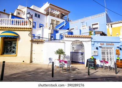 CALPE,SPAIN - FEBRUARY 22, 2016:  Street of the old town in the center of Calpe. Alicante. Spain