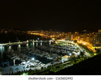 Calpe/Spain-August 06 2018 Year. Calpe Costa Blanca Spain. Night view on the marina and city light .