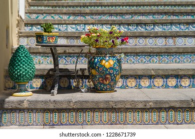 Caltagirone, Italy - July 3 2017: The Staircase of Santa Maria del Monte, the landmark of this historic Sicilian town.