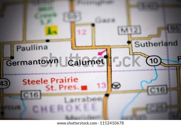 Calumet. Iowa. USA on a map