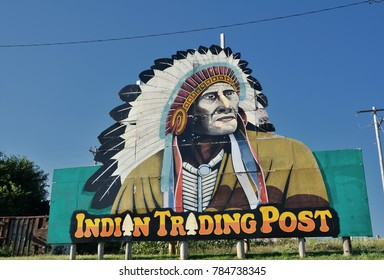 Calumet, Oklahoma - July 20, 2017: Indian Trading Post and Art, off the Calumet exit of Interstate 40 in western Oklahoma. On Route 66 as it passes through the state of Oklahoma