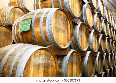 Calvados barrels in storage at the plant in Normandy, France