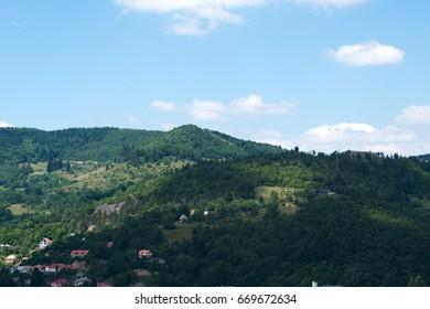 Calvary Banska Stiavnica is a late-Baroque calvary, Look at the landscape.