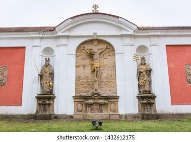 Calvary of Benedictine Abbey in Broumov town in Czech Republic