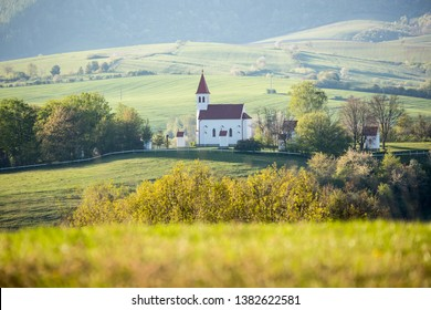 Calvary Christian pilgrimage site with church and chapel. Beautiful nature of the Slovak countryside. Europe, landscape Slovakia, in Nitrianske Pravno.