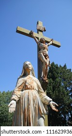 Calvary crucifixion scene in Le Jardin de Calvaire, Carcassonne