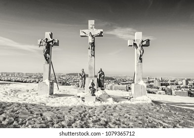 Calvary in Nitra city, Slovak republic. Religious place. Winter scene. Cultural heritage. Travel destination. Snow and sunny. Black and white photo.