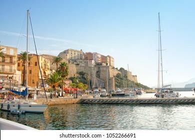 CALVI, CORSICA, FRANCE - September, the 13, 2016: the vue at the Citadel in Calvi - coastal town on the island of Corsica (Corse), France