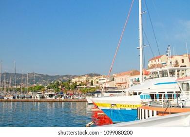 CALVI, CORSICA, FRANCE - September, the 13, 2016: the vue at the harbor of Calvi - coastal town on the island of Corsica (Corse), France