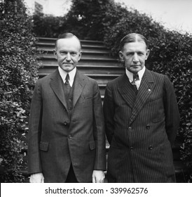 Calvin Coolidge with Charles Dawes, the Republican Vice Presidential nominee at the White House. June 1924. Both men were chosen as the Republican candidates at the party's National Convention in Clev