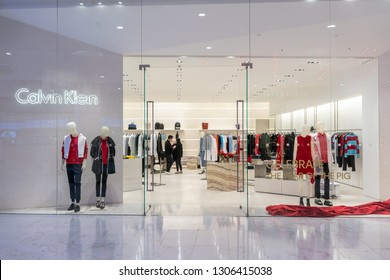 Calvin Klein shop at Emquatier, Bangkok, Thailand, Feb 3, 2019 : Front strore of fashionable clothing brand window display in Chinese new year event.