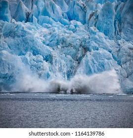 Calving, or falling of huge chunks of ice, on Upsala Glacier in