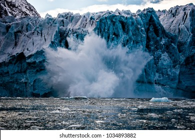 Calving glacier in Svalbard in the arctic, close to the North Pole.