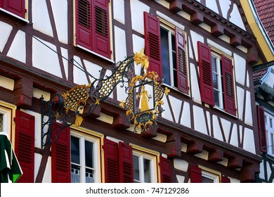 CALW, GERMANY - NOVEMBER 2, 2017: Traditional  house in Germany with wrought iron hanging sign in Calw, Germany