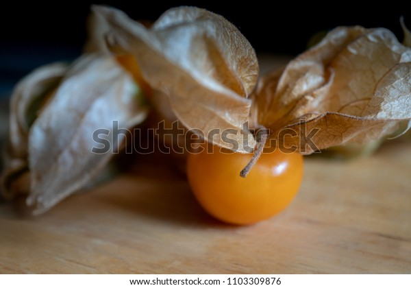 Calyx and fruit of Cape gooseberry (Physalis peruviana) or Physalis, closeup and selective focus.
