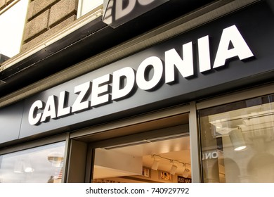 Calzedonia Clothing Store Sign in Stuttgart Koenigsstrasse Daytime Overcast Shopping Season October 24 2017