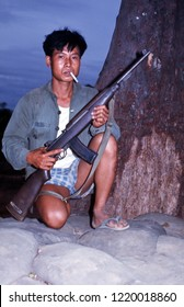 Cam Lo, Quang Tri Province / Vietnam - July 1, 1967: A South Vietnamese Popular Force soldier serving in his home village of Cam Lo, Vietnam, displaying his M1 carbine rifle on July 1, 1967.