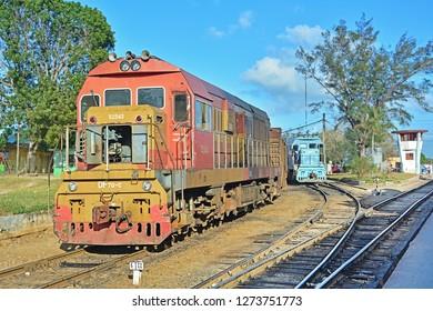 CAMAGUEY, CUBA - FEBRUARY 21, 2018 - Shunting diesel locos of Ferrocarriles de Cuba (Cuban Railways) at Camaguey Central railway station