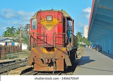 CAMAGUEY, CUBA - FEBRUARY 21, 2018 - Shunting diesel loco of Ferrocarriles de Cuba (Cuban Railways) at Camaguey Central railway station