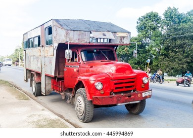CAMAGUEY, CUBA - JAN 26, 2016: Truck used for passenger transport in Camaguey