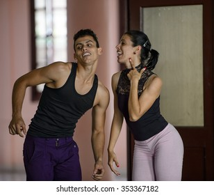 Camaguey, CUBA - March 22, 2015: A jazz dance couple is performing in Camaguey, Cuba