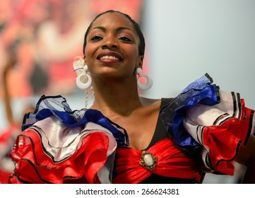 Camaguey, CUBA - March 24, 2015: A dancer of a Cuban folklore group is performing in Camaguey, Cuba