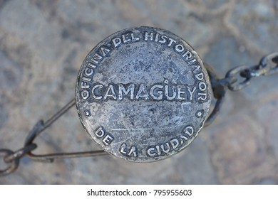 Camaguey, Cuba - Street post with the name of the city