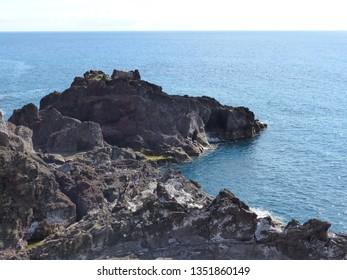 Camara de Lobos, Portugal / Portugal - January 2019: Shoreline near Camara de Lobos