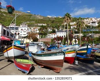 Camara de Lobos, Portugal / Portugal - January 2019: Fishing boats in Camara de Lobos