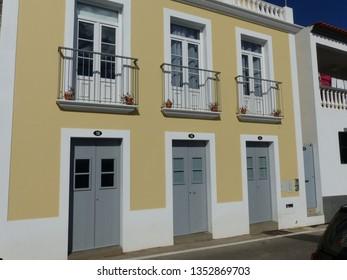 Camara de Lobos, Portugal / Portugal - January 2019: Building and street in Camara de Lobos