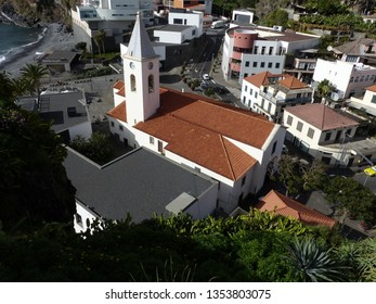 Camara de Lobos, Portugal / Portugal - January 2019: Church tower in Camara de Lobos