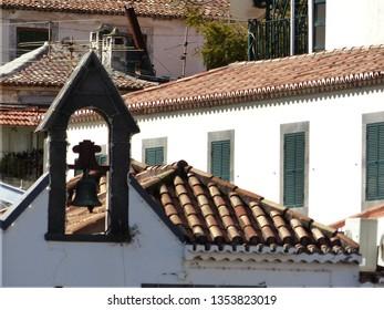 Camara de Lobos, Portugal / Portugal - January 2019: Bell tower in Camara de Lobos