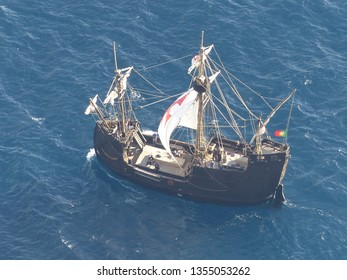 Camara de Lobos, Portugal / Portugal - January 2019: Pirate ship by the coast of Funchal