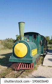 CAMARGUE, FRANCE - SEPTEMBER 3, 2013: Little train by the Vaccares lake. This little train of Mejanes will the tourists discover the variety of the landscapes of Camargue.