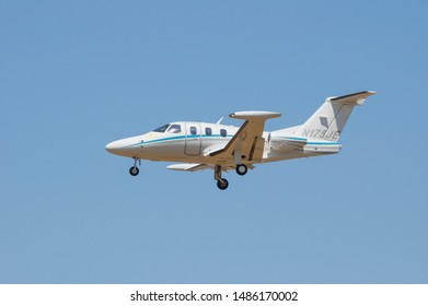 CAMARILLO AIRPORT, CA/USA - AUGUST 21, 2016:   Eclipse Aerospace EA500 aircraft with registration number N175JE shown approaching for landing.